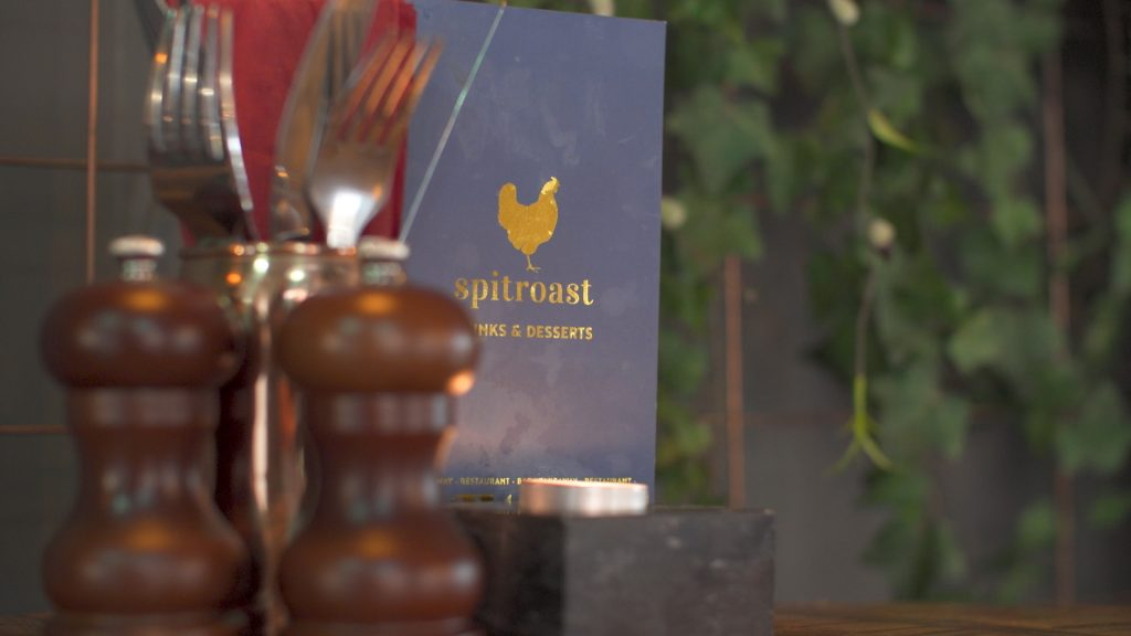 A menu on a table in the Spitroast Kitchen, Ormskirk