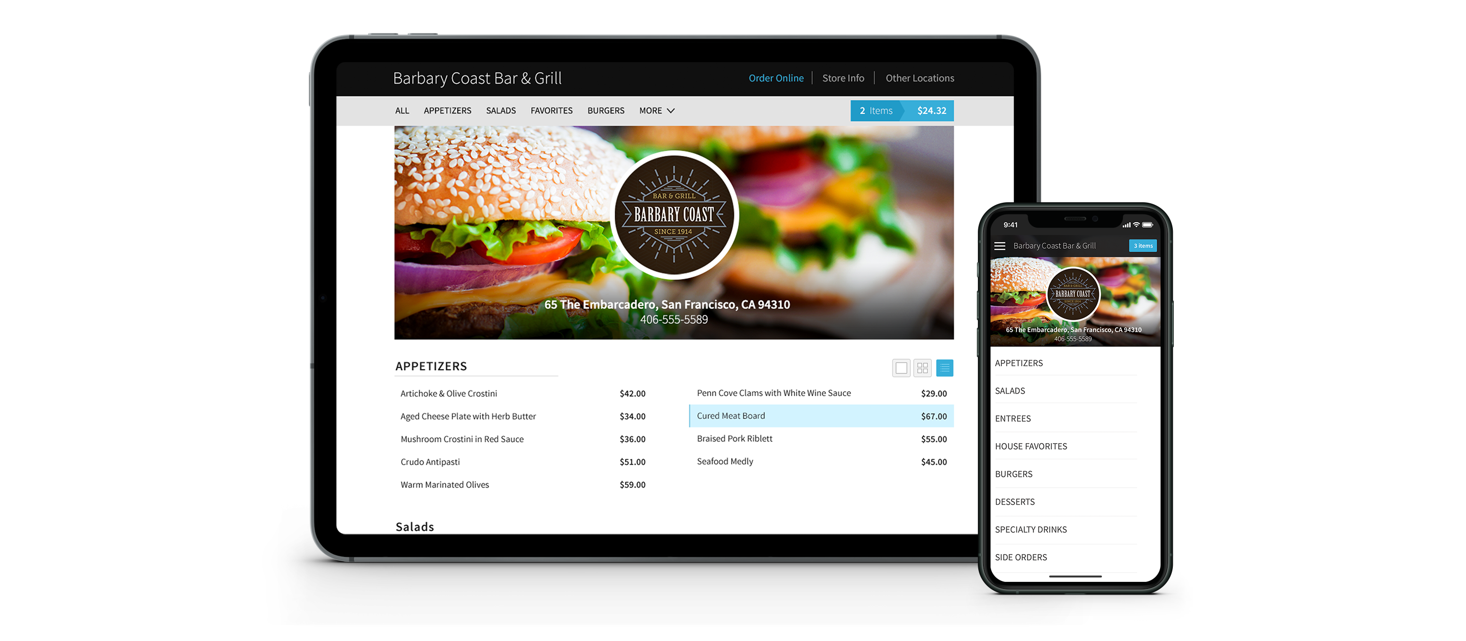 An iPad and smartphone device displaying online ordering screens