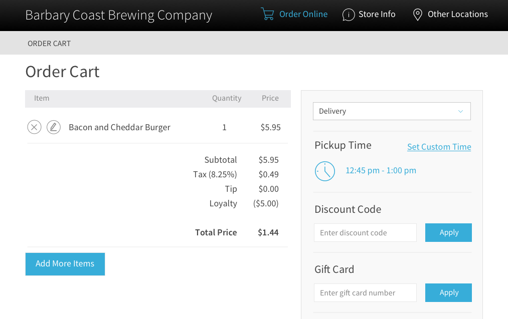 View of a screen for ordering gift cards