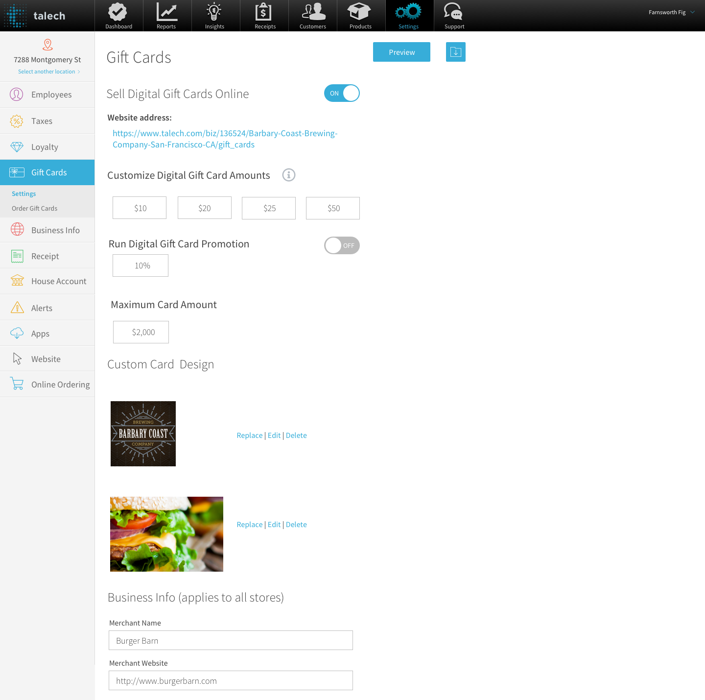 Image of screen showing where to order gift cards within talech