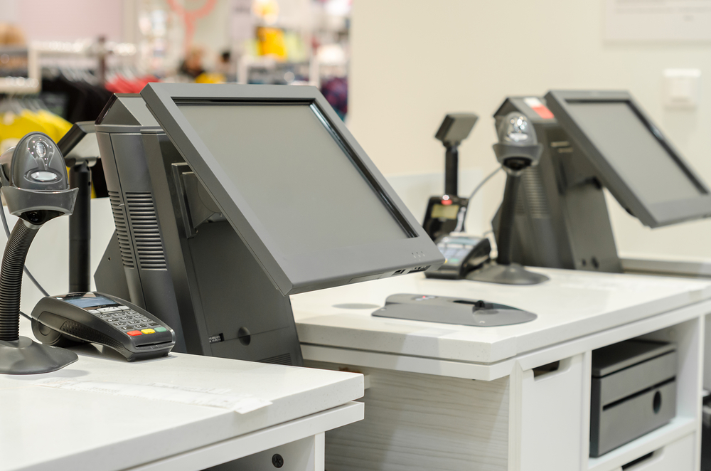 pos system with cash register in store