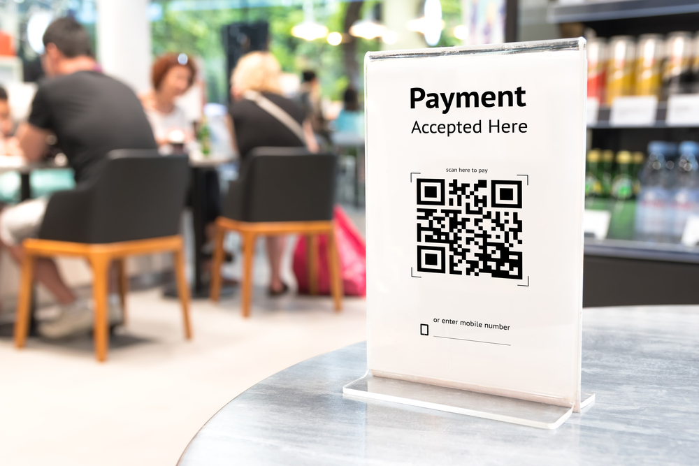 QR code sign for payment in restaurant