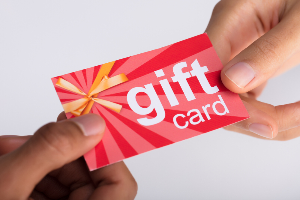 a gift card is exchanged