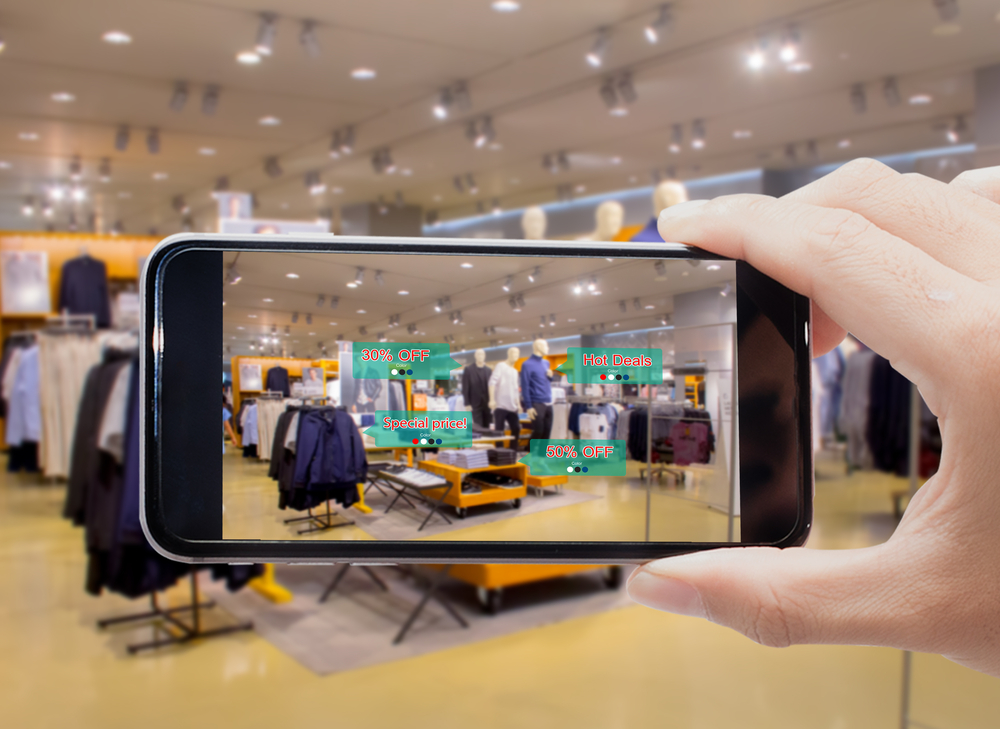 Shopper uses mpos on iphone in shop