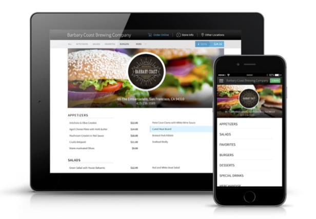 talech Online Ordering on an iPad and smartphone