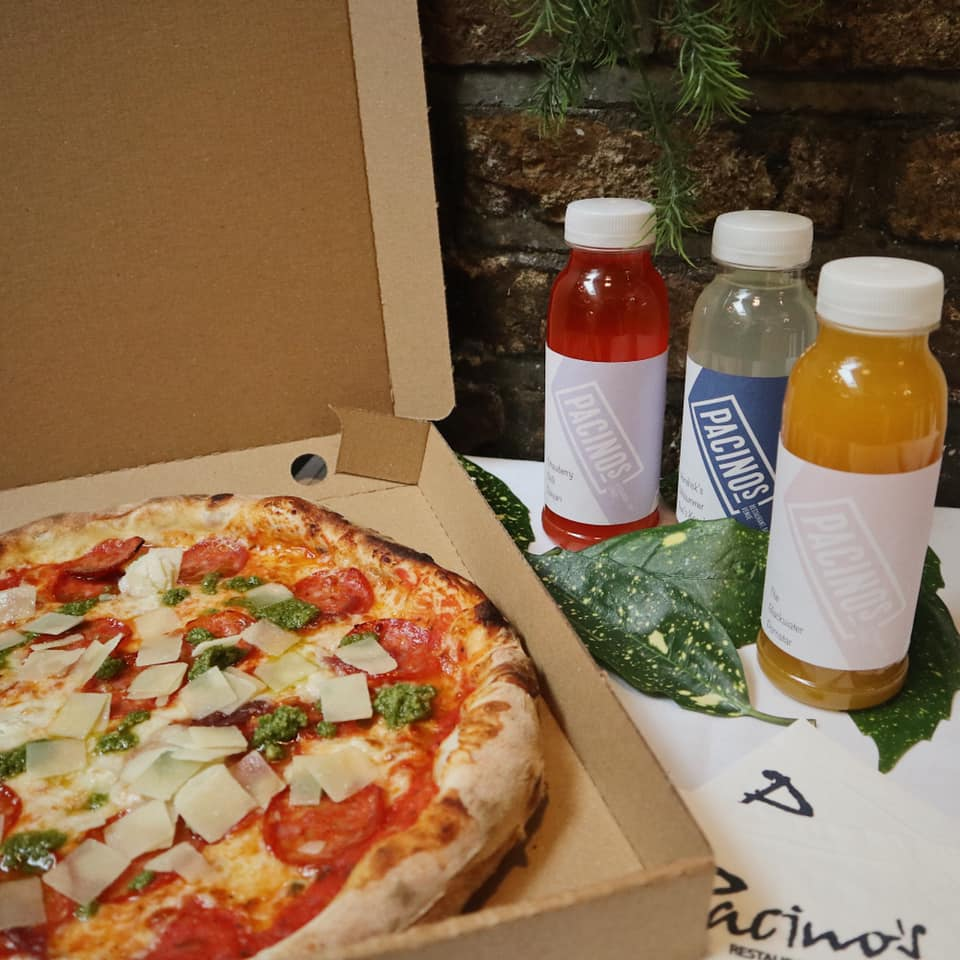 Pizza and cocktails for delivery