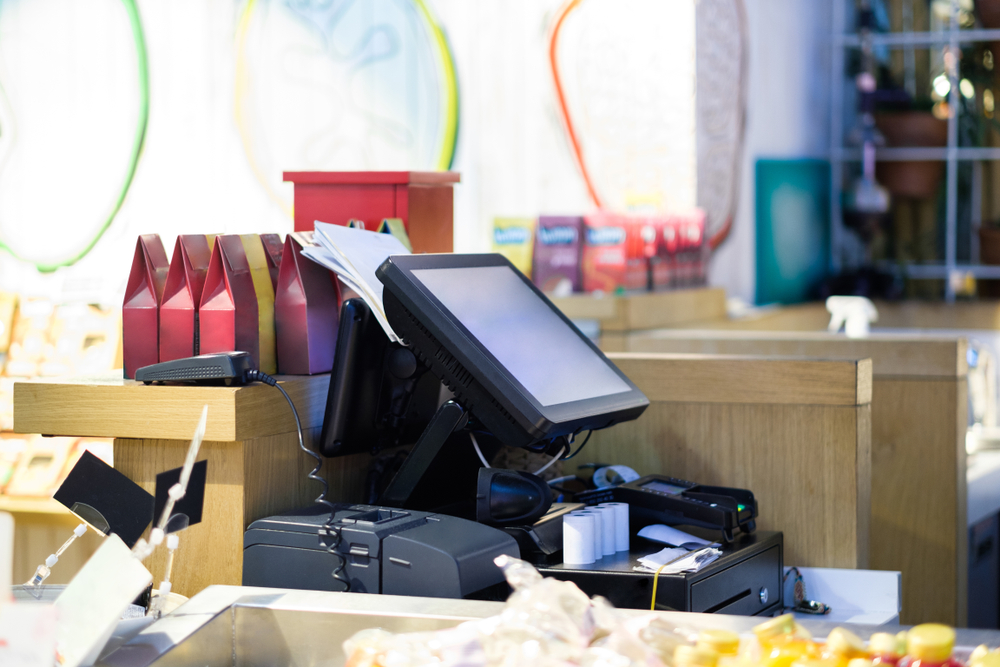 a retail pos with cash register